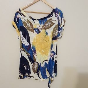 Anthropologie Deletta parrot shirt S, tie front
